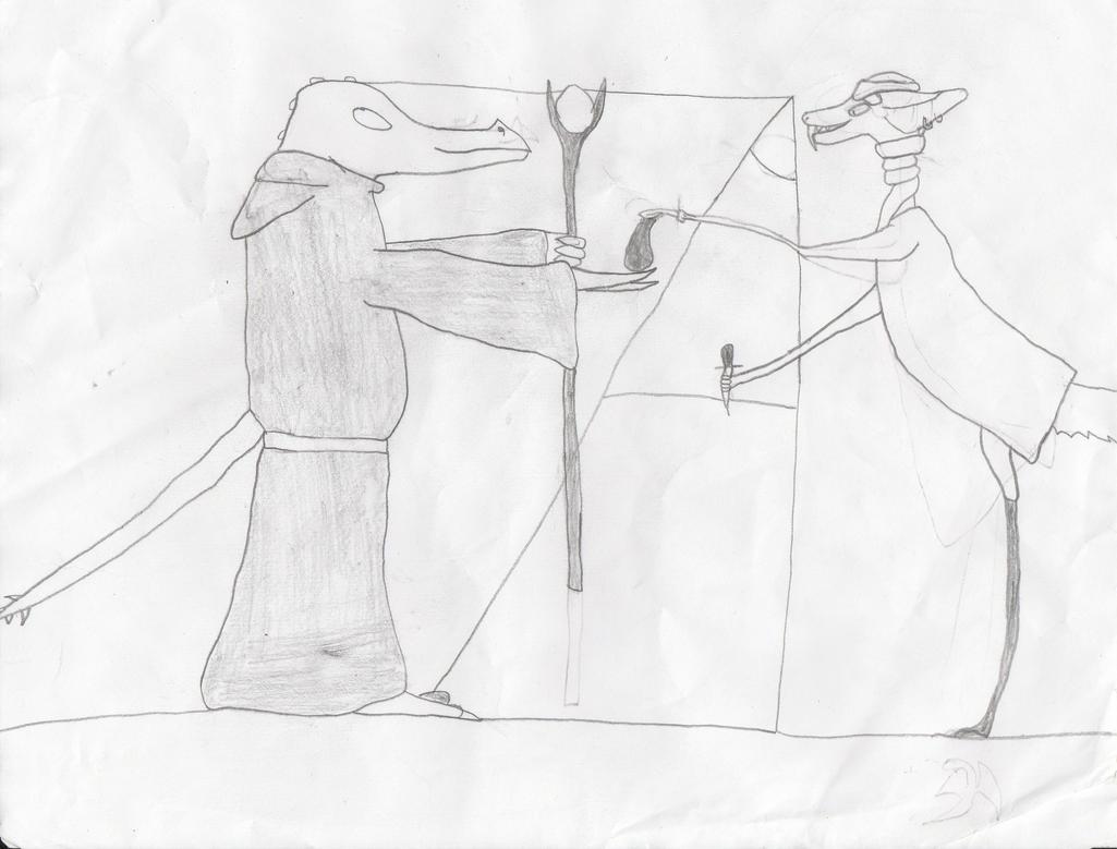 Vhigroonsos trades with a desert scav by moondragon01