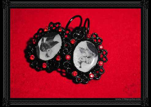 'Birds' Earrings -Red-