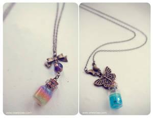 glitter gel bottle necklaces.