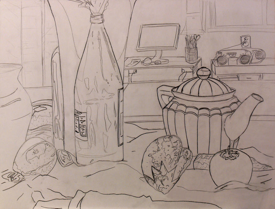 Contour Line Drawing Of Still Life : Contour still life