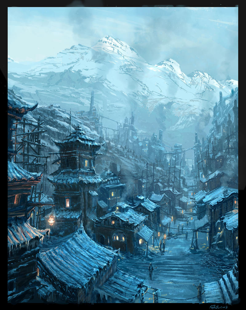 Steampunk Chinese Village by Raphael-Lacoste