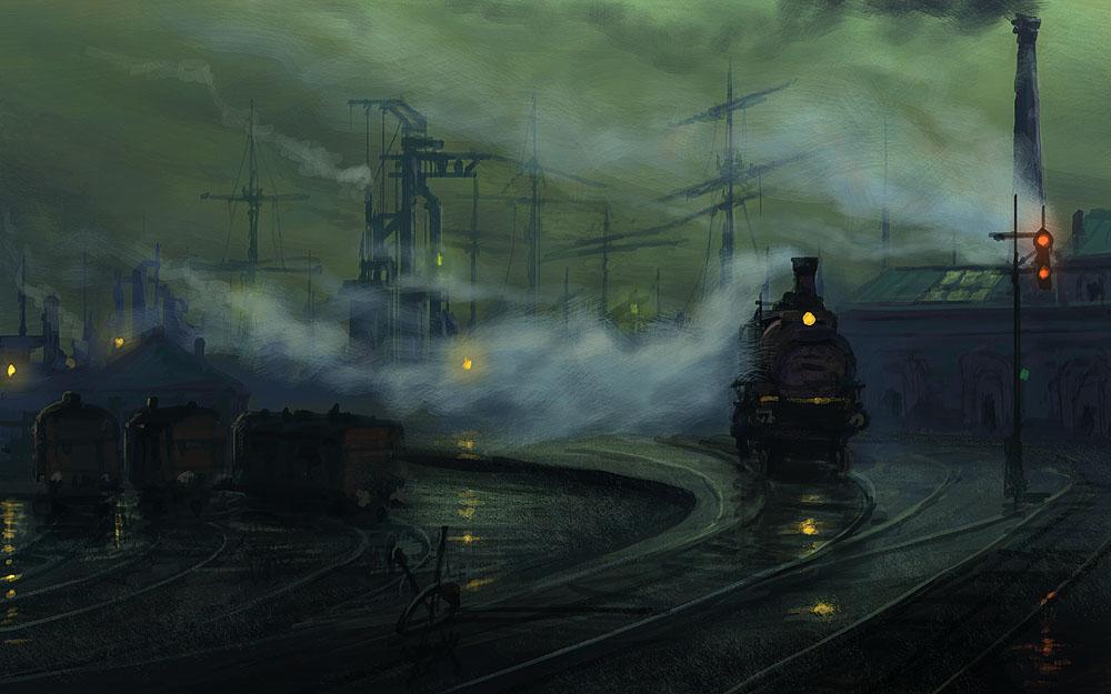 painting old beautiful train - photo #16