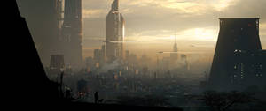 Sci-fi city With Dog