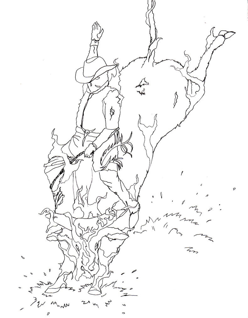 Bull Riding - Free Coloring Pages