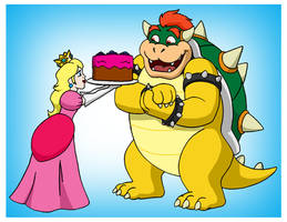 Cake For Bowser by RetroUniverseArt