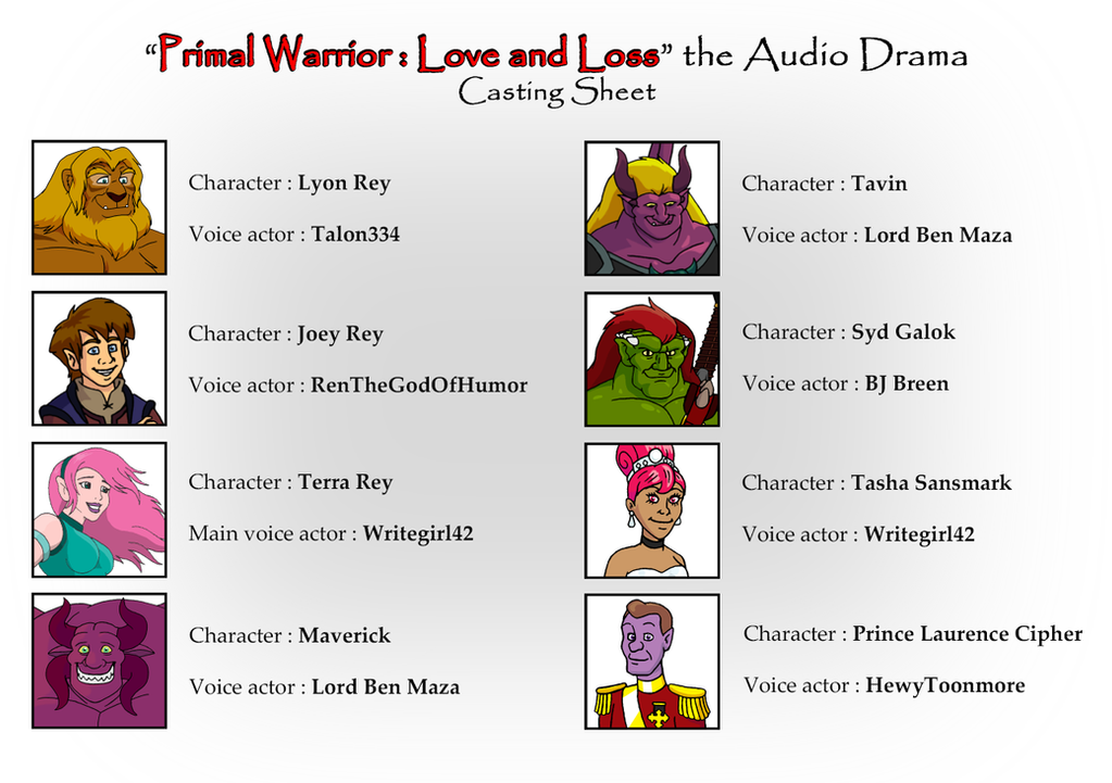 PW : Love and Lost - Casting Sheet by BennytheBeast