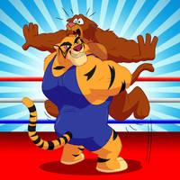 Commission - Big Cats Brawl by RetroUniverseArt