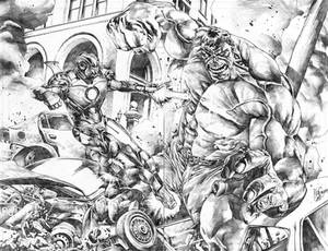 Ironman vs. Hulk commission