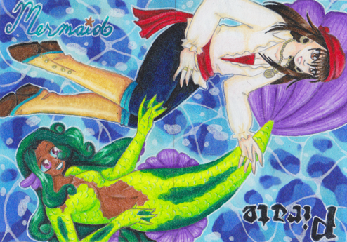 Mermaids and Pirates ATC by BiSnarkian