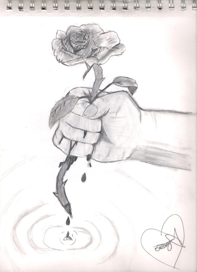 Hand Holding Flower Line Drawing