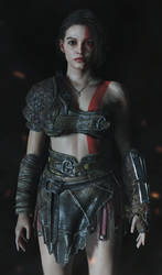 Jill cosplaying Kratos