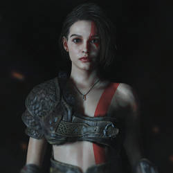 Jill cosplaying Kratos 2