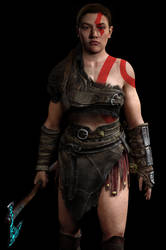Abby Cosplaying Kratos 2