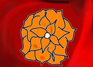 Orange flower with blood