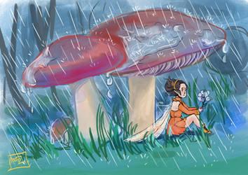 Rainy day:  Little Fairy by 1MarZ