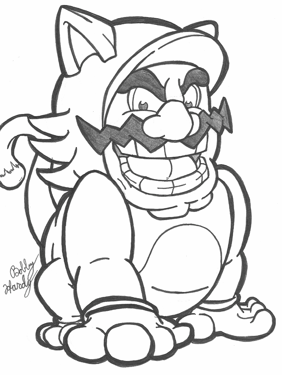 wario coloring page - cat suit wario inked by th3antiguardian on deviantart