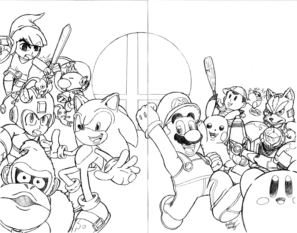 Super smash bros sketch cover 2 page wrap around by for Super smash bros brawl coloring pages