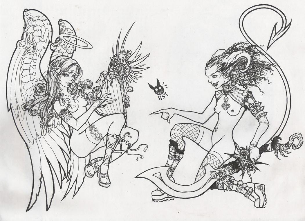 angela + diabola LINEART by hiraistrange