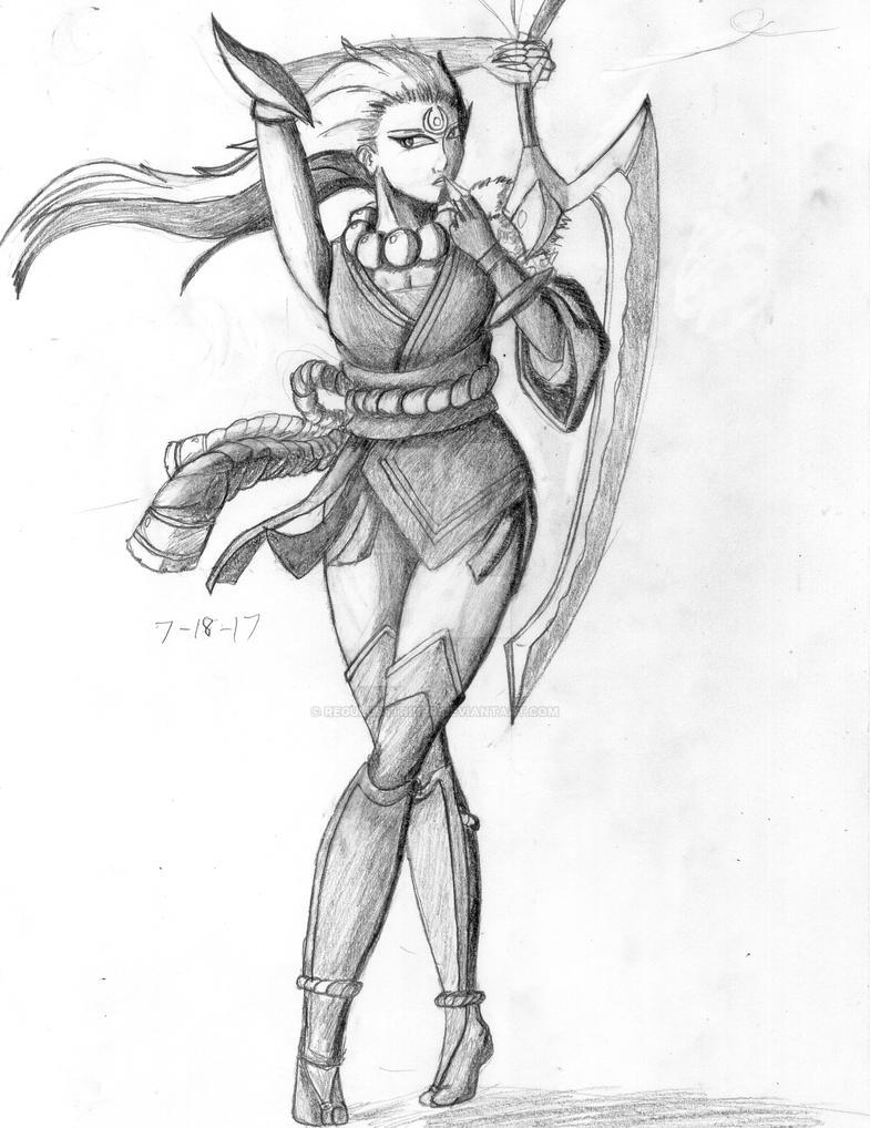 Diana blood moon pencil sketch drawing by regulusstrider on deviantart