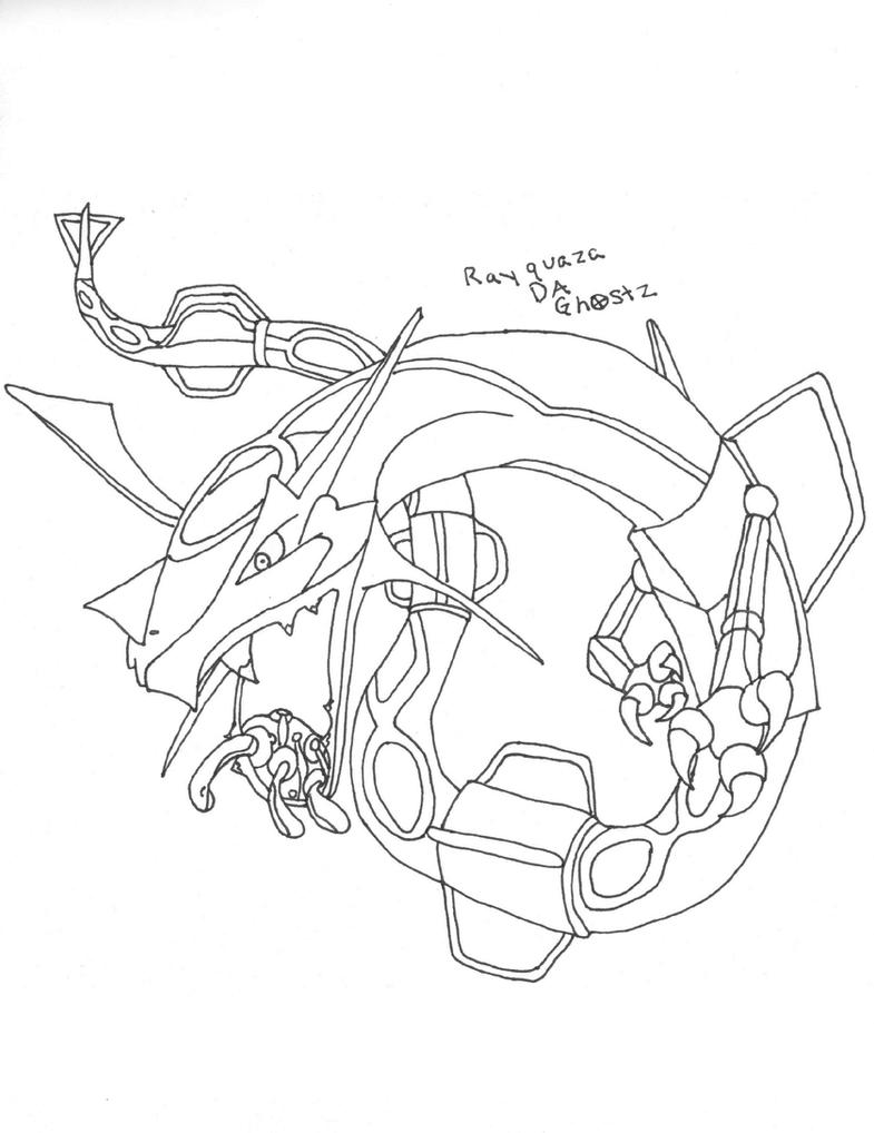 Rayquaza outline by daghostz on deviantart for Rayquaza coloring pages