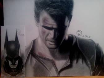 Nathan Drake and Batman by DavidSRB117