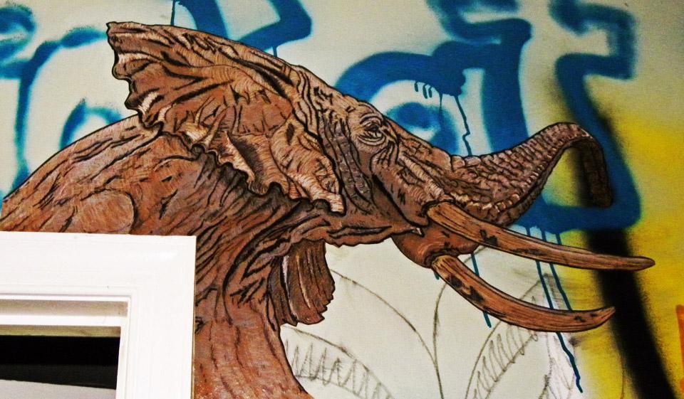 Elephant Wheat paste in Graffiti Warehouse by TOVENstreetArt