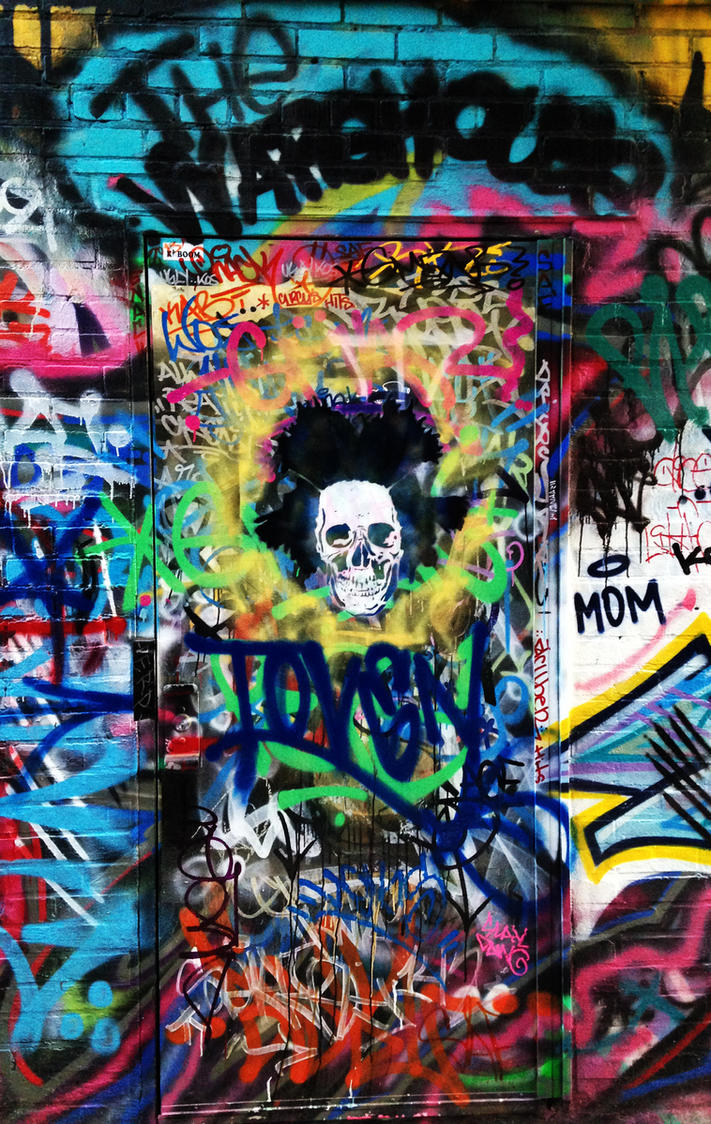 Graffiti art wallpaper iphone - Basquiat Skull By Street Artist Toven By Tovenstreetart