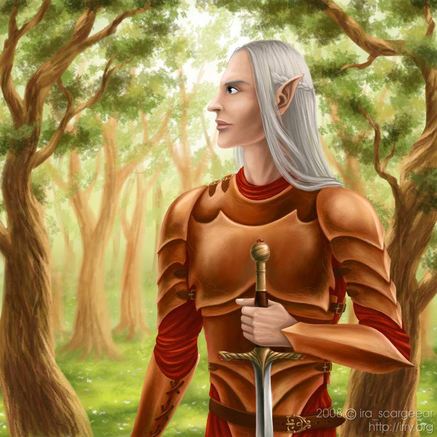 Elven warrior in the forest by scargeear