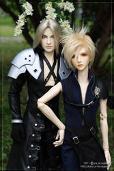 Sephiroth and Cloud by scargeear