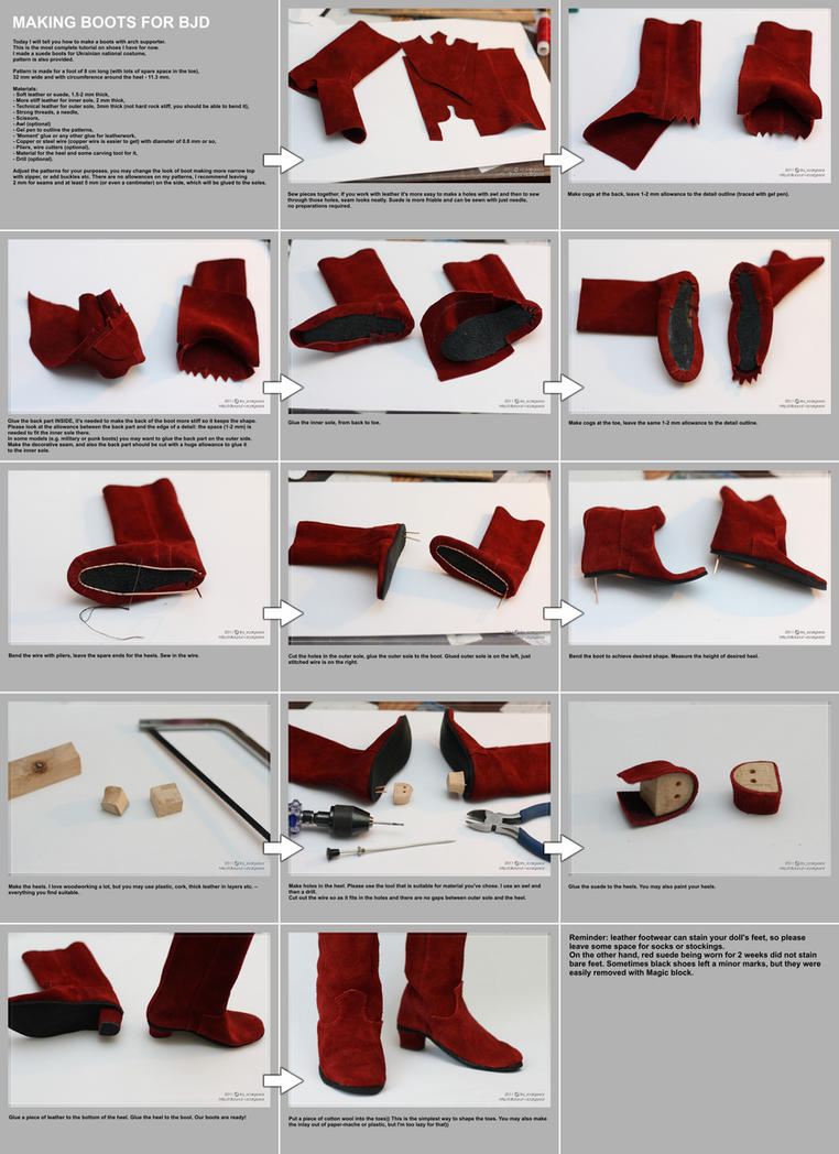 Making boots for BJD tutorial by scargeear on DeviantArt