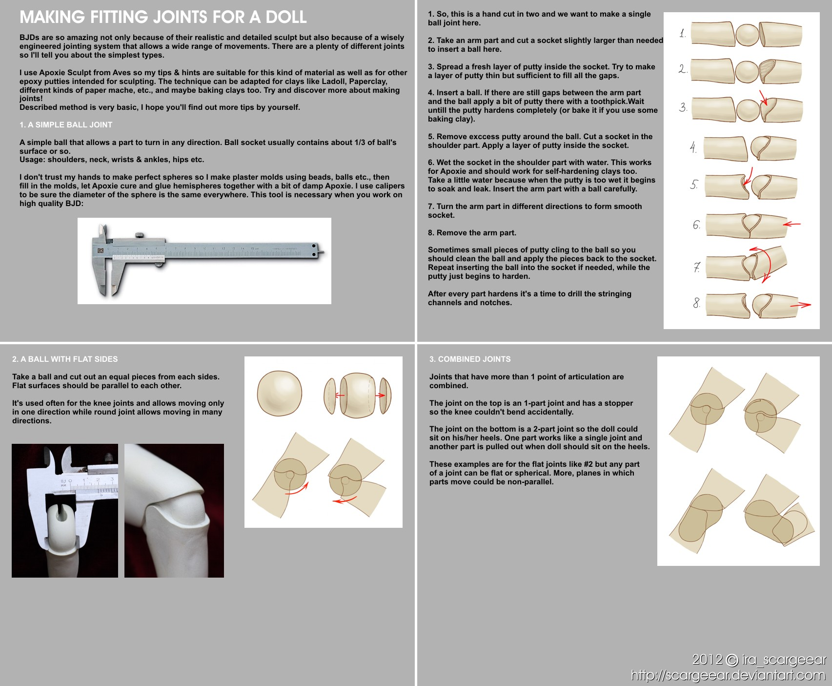 Make fitting joints for a doll - tutorial by scargeear on