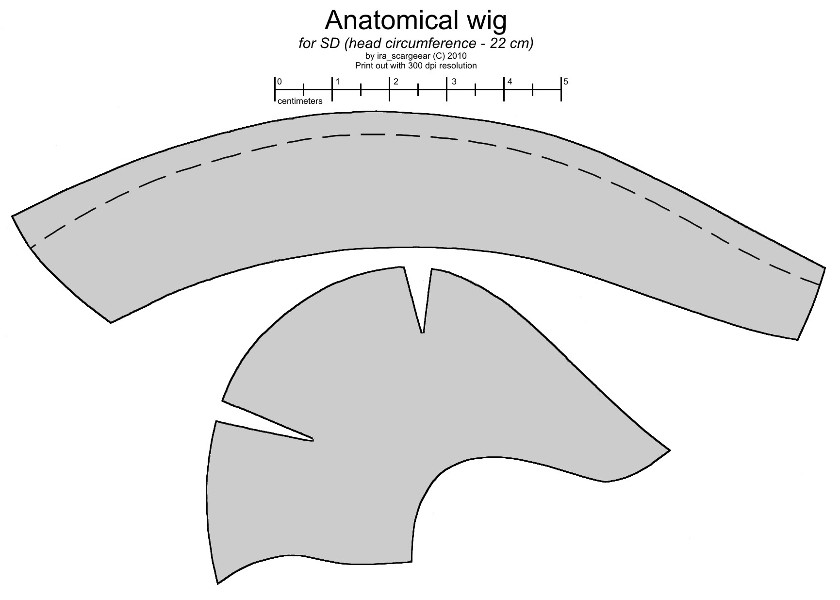 Anatomical wig for SD BJD doll