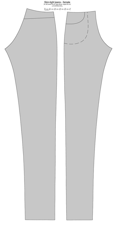 SD BJD (i-Doll) female jeans by scargeear