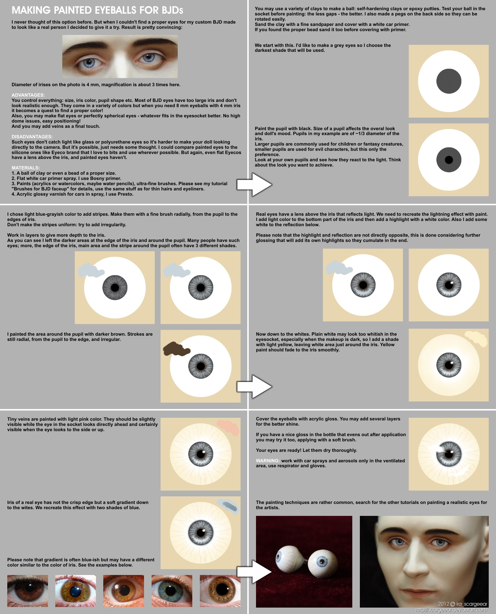 Making painted eyeballs for BJDs by scargeear