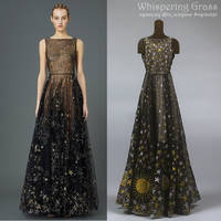Valentino Black Star Chiffon Dress