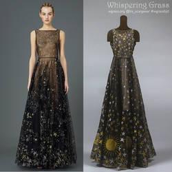 Valentino Black Star Chiffon Dress