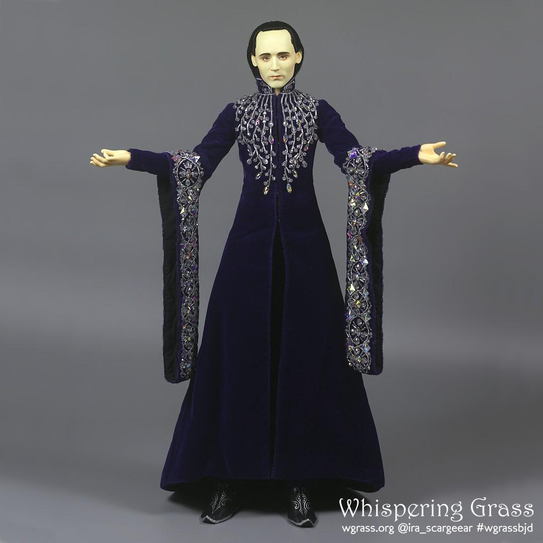 Elven Deep Purple Velvet Dress with Beads Embroide