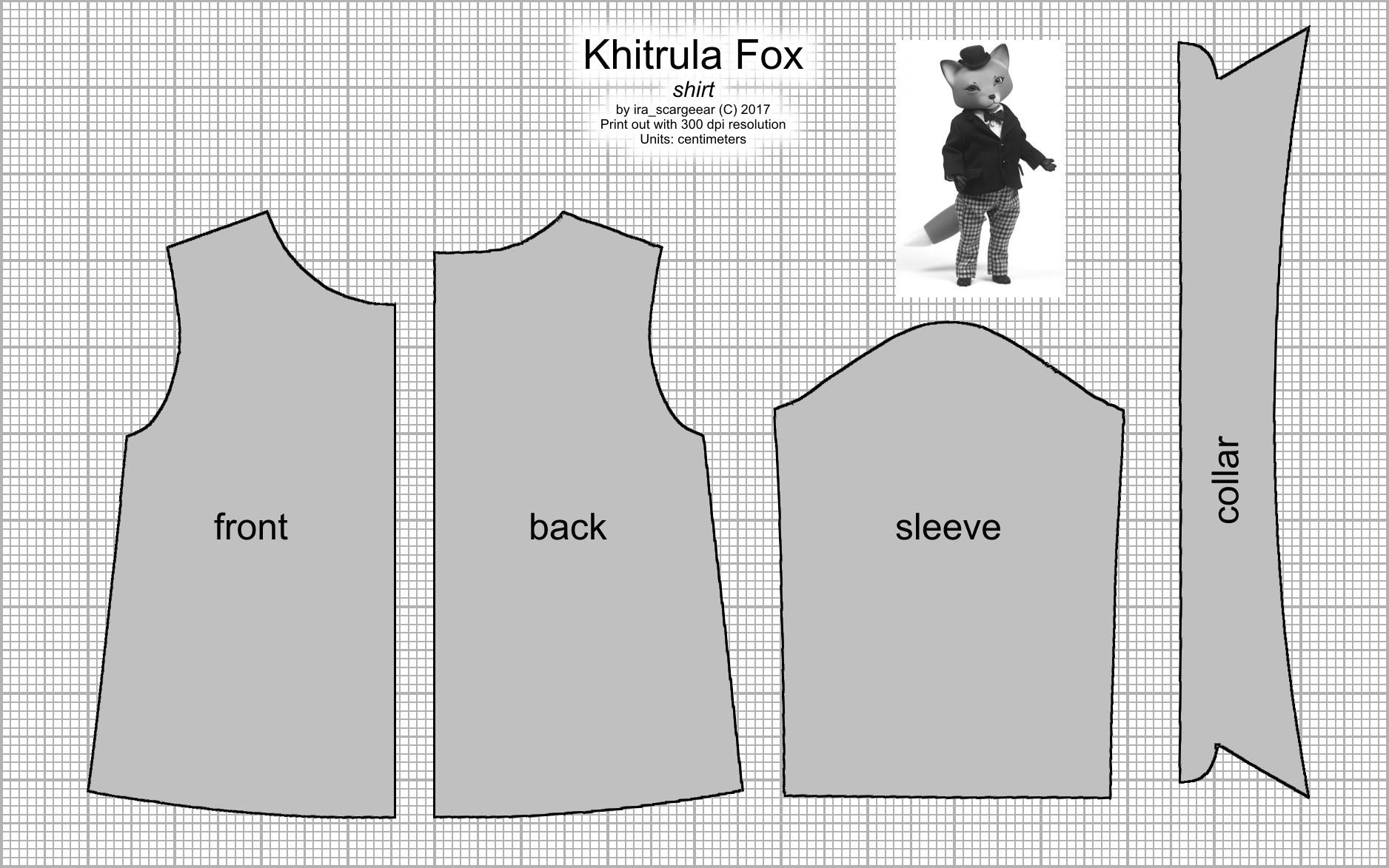 Khitrula Fox Shirt Pattern