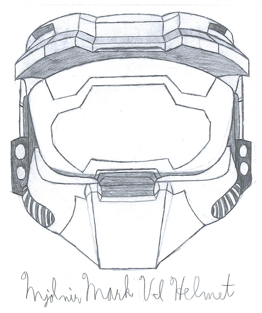 how to draw master chief helmet