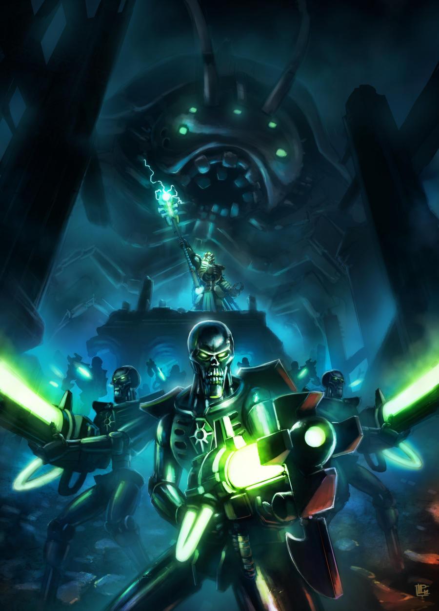 Warhammer 40k Tribute: Necron Warriors and Imotekh by pierreloyvet