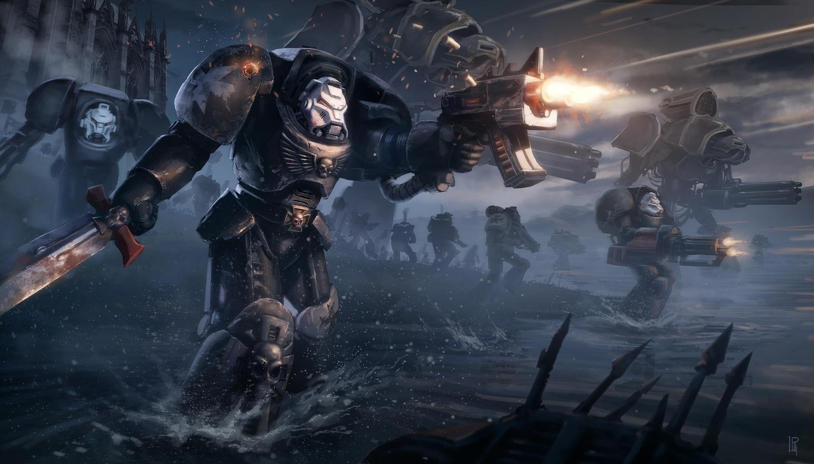 Warhammer 40k death company wallpaper - Warhammer 40k Black Templars Terminator Tribute By Pierreloyvet