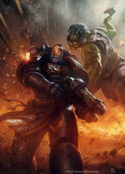 Orks vs Ultramarine by pierreloyvet
