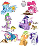 Mane 6 and Frogs by Doodle-Mark