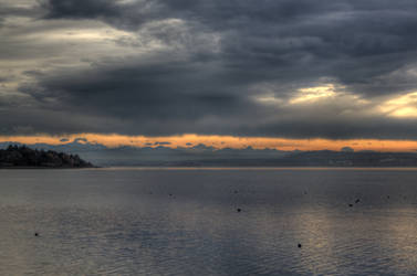 Ammersee and the Bavarian Alps at sunset by zertrin
