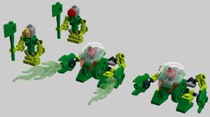 Micro-Bionicle -- Acid Bohrok and Lewa scalefig