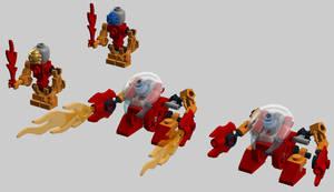 Micro-Bionicle -- Fire Bohrok and Tahu scalefig