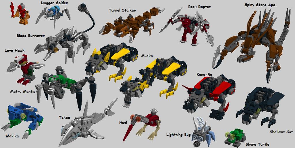 [MOC] Coup de Cœur : Rahi miniaturisés - taille minifigurine Micro_bionicle____rahi_batch_2_complete_set_by_bonesiii-d7wq5wl
