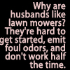 Why are husbands like lawn mowers by BlueRavenAngel