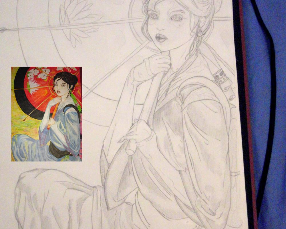 Kimono- pencil and colour by Ninons