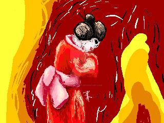 Geisha : yellow and red by StarlightArtt